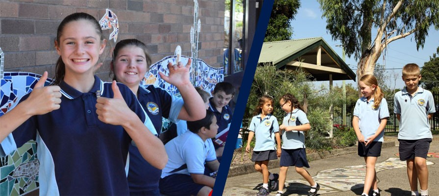 Bomaderry students walking and giving the thumbs up.